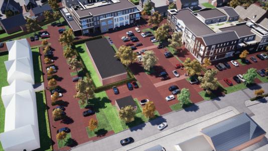 Het terrein waar nu nog het oude gemeentehuis staat met bovenaan de nieuwe Aldi met appartementen,rechts de Coop met appartementen. In het midden het KPN gebouw dat vooralsnog blijft staan.
