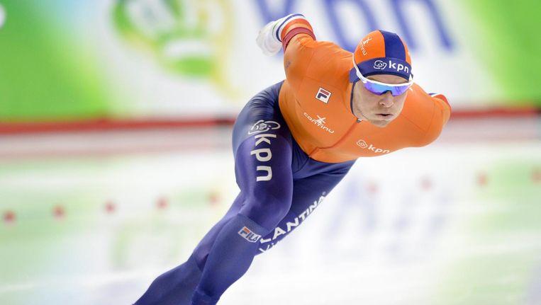 Koen Verweij in actie op de 1500m in Calgary Beeld epa