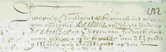 """Arent Vos vertelt over het ooggetuigenverslag van het zinken van de Batavia: """"Droeviege daghaenteijckeningh int verliesen van ons schip Batavia""""."""