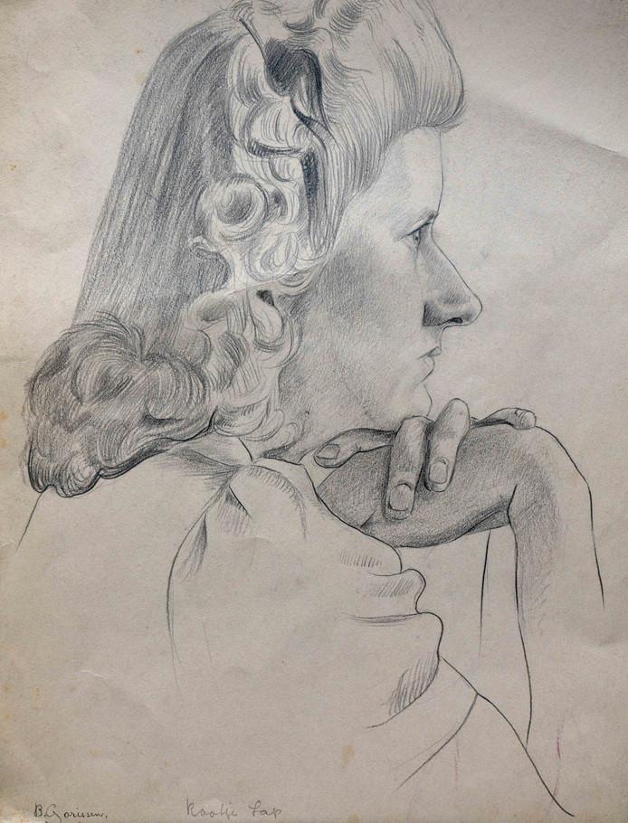 Cootje Lap, getekend in 1940 door Bert Gorissen. Dertien jaar later wordt zij moeder van Herman Koch.