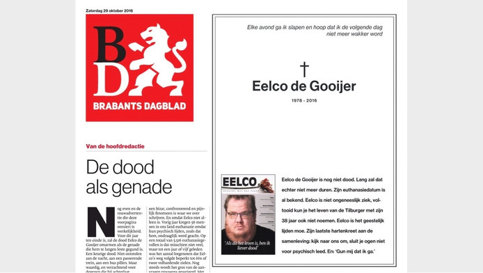 De voorpagina van het BD van zaterdag met de rouwadvertentie.