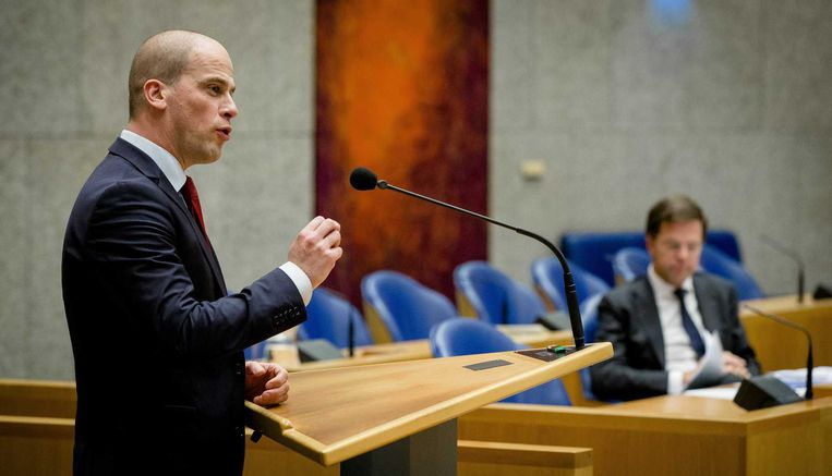 Diederik Samsom tijdens een debat in de Tweede Kamer. Beeld anp