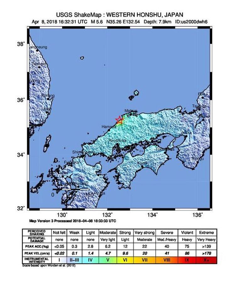 Een beeld van de Amerikaanse Geological Survey laat zien waar de aardbeving plaatsvond.