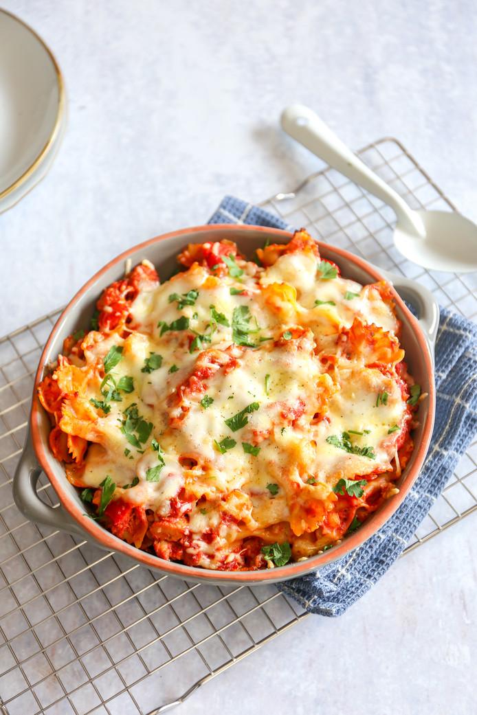 Pasta-ovenschotel met tonijn en mozzarella