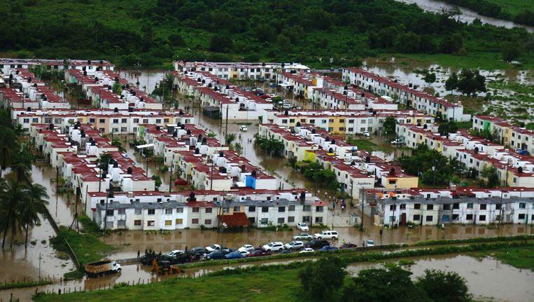 Campestre La Leguna in Acapulco, Mexico is helemaal ondergelopen.