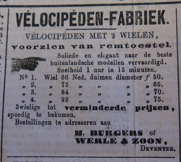 Op 5 maart 1869, precies 150 jaar geleden adverteerde Hendrikus Burgers in de Deventer Courant met de eerste Velocipeden Fabriek te Deventer.