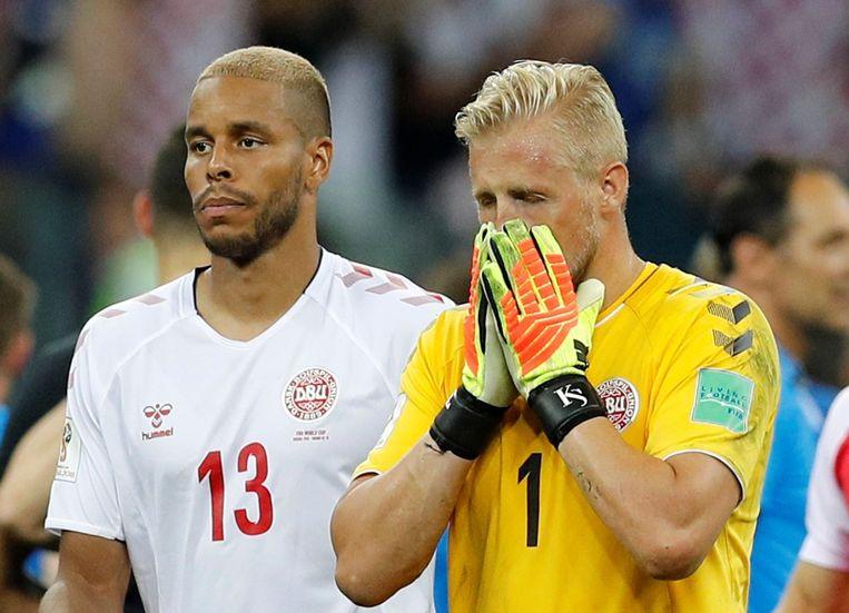 Mathias Jorgensen en Kasper Schmeichel, twee van de stakende profs.