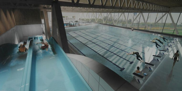 Een toekomstbeeld van hoe het nieuwe zwembad er vanbinnen zal uitzien.