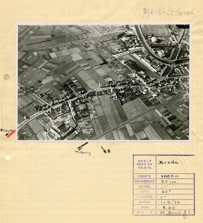 Beeld met info van de fotograaf, meneer Bosch. Te zien is de Teteringsedijk in Breda, met rechtsboven de Koepel en Wilhelminasingel.
