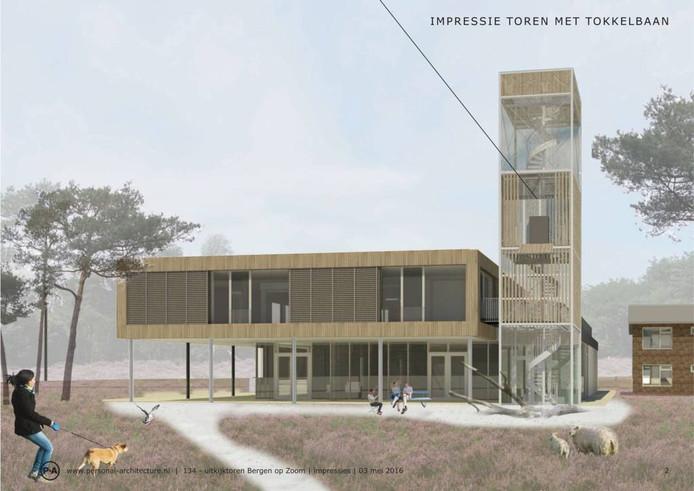 Zo ziet het er straks uit: de uitkijktoren bij de Stayokay in Bergen op Zoom.