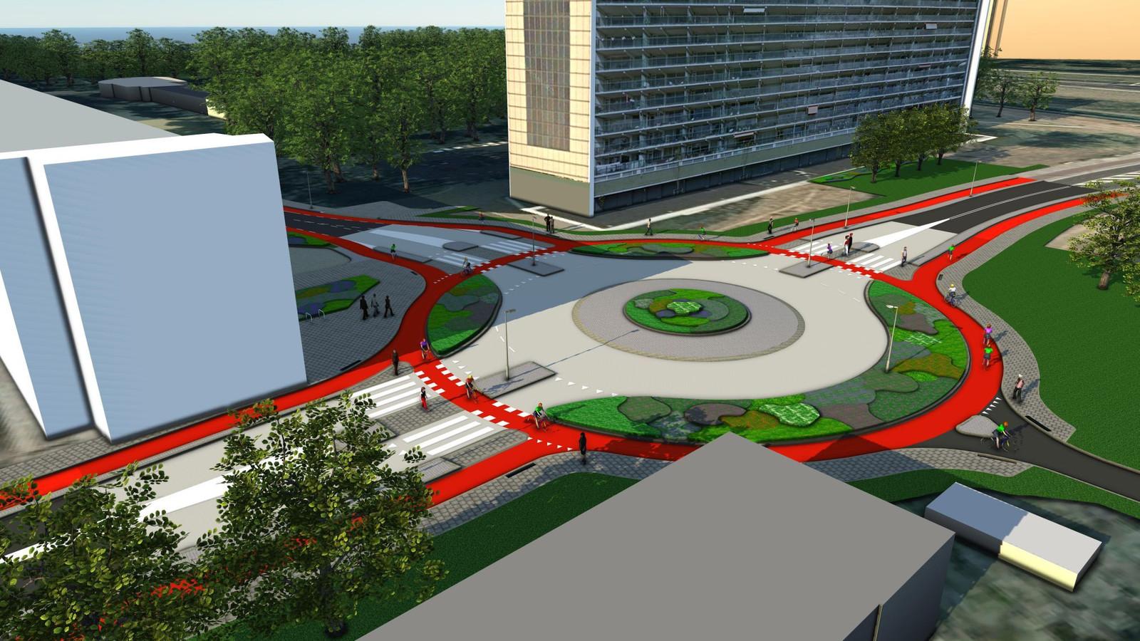 Een schets van de nieuwe rotonde op de kruising tussen de Zwanensingel en de Zwaluwenlaan.