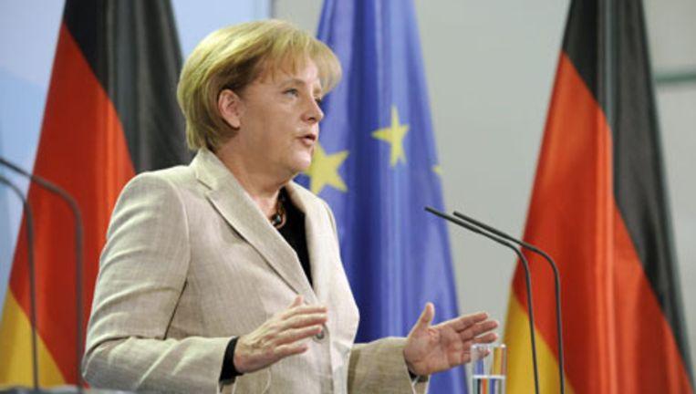 De Duitse bondskanselier Angela Merkel maandag in Berlijn. Foto EPA Beeld