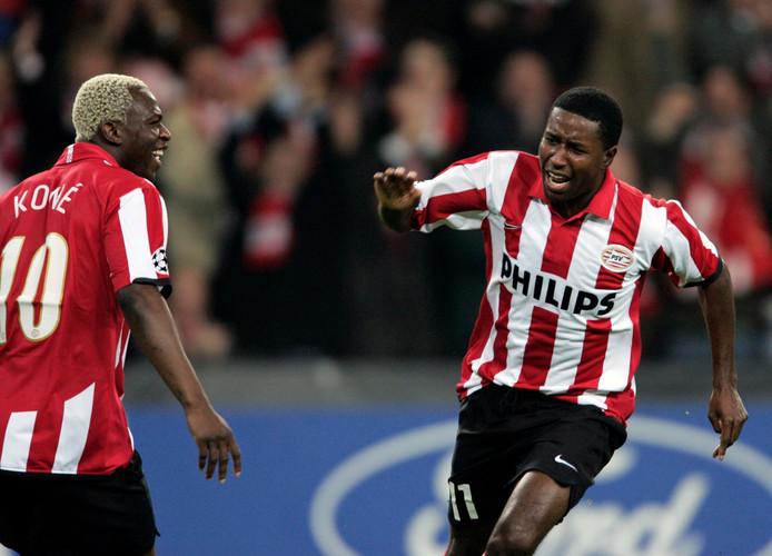 Edison Mendez na zijn doelpunt tegen Arsenal
