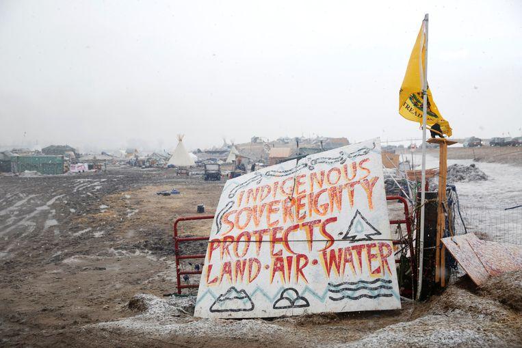 De Sioux-indianen van Standing Rock voerden maandenlang actie tegen de pijplijn. Beeld REUTERS
