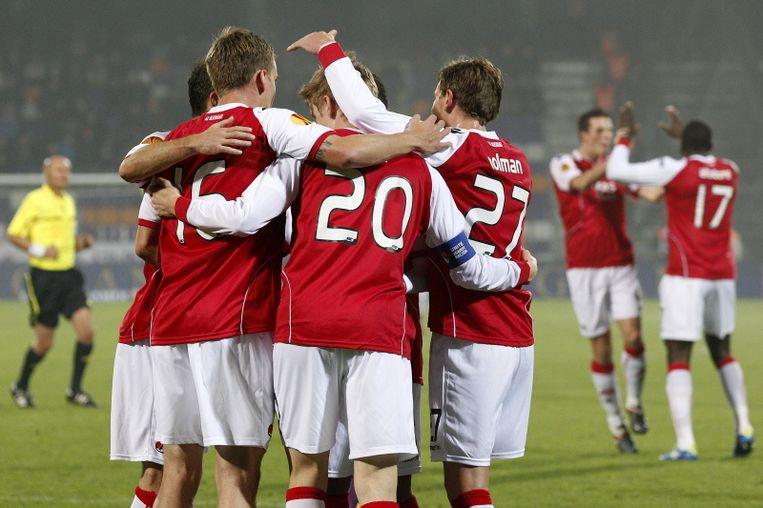 AZ viert de 0-1 van Elm uit een penalty. © PRO SHOTS Beeld