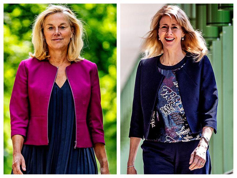 Sigrid Kaag (D66, links) en Mona Keijzer (CDA, rechts). Beeld Pim Ras