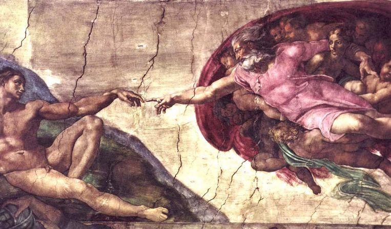 De schepping van de eerste mens (artistieke impressie). Beeld Wikimedia