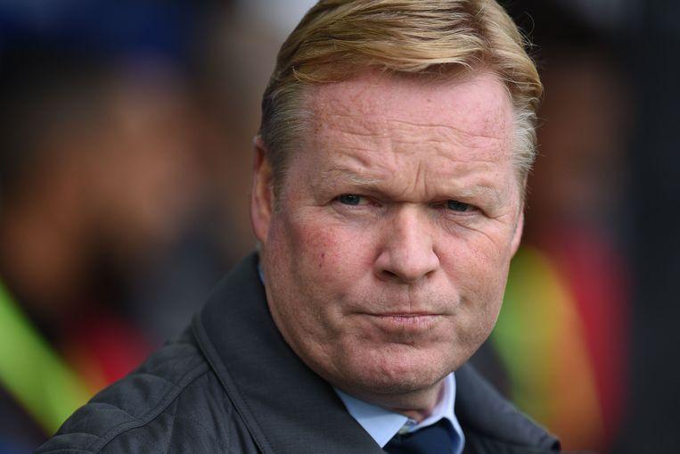 Ronald Koeman werd vandaag na de vijfde competitienederlaag in de Britse Premier League (2-5 tegen Arsenal) ontslagen als trainer van Everton. Het vierde ontslag in zijn trainerscarrière. Beeld AFP