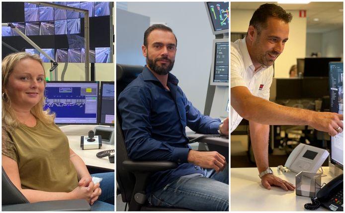 Een wegverkeersleider, luchtverkeersleider en teamleider van een alarmcentrale aan het werk.