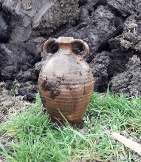 Archeologen vinden middeleeuwse puntgave kruik in Reeve bij Kampen (en skelet van koe)