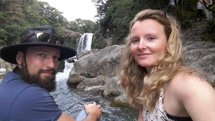Ruben en Mirjam Tulling tijdens hun reis naar Nieuw-Zeeland.