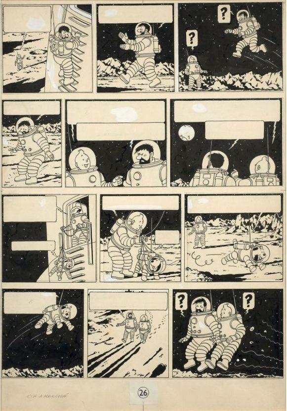 Een originele plaat uit het Kuifjesalbum 'Mannen op de Maan' (origineel: 'On a marché sur la lune') werd in 2016 al eens geveild voor 1,55 miljoen euro.