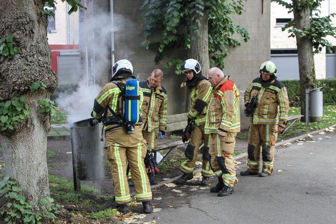 Het brandje op het Hulstplein was in een mum van tijd onder controle.