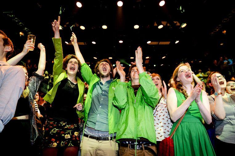 GroenLinksers vieren de winst. Beeld anp
