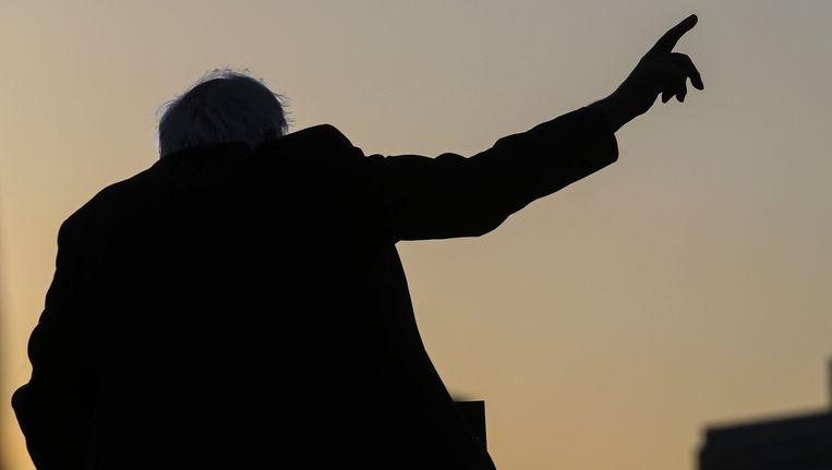 Bernie Sanders op een verkiezingsrally in Santa Monica.