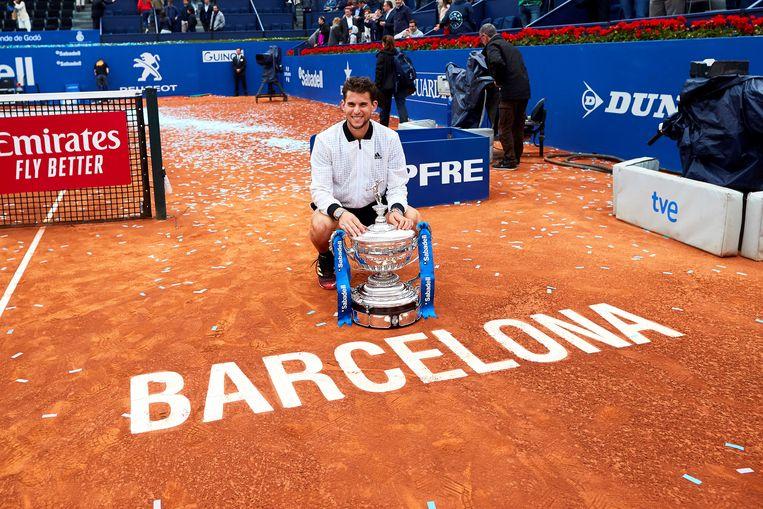 Thiem met de trofee in Barcelona.