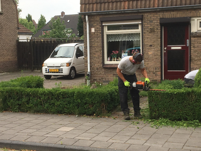 Jongeren aan het werk in de Mariastraat in Hengelo.