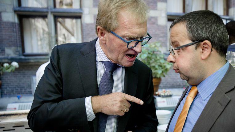 VNO-NCW-voorzitter Hans de Boer (links) in gesprek met PvdA-prominent Sander Terphuis Beeld ANP