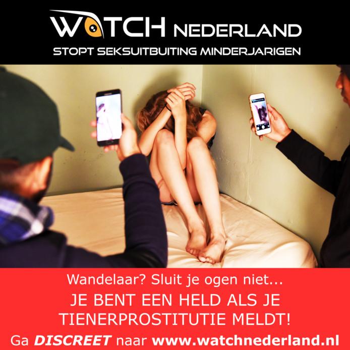 Een van de banners waarmee WATCH aandacht gaat vragen voor tienerprostitutie op websites met seksadvertenties.