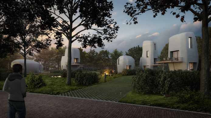 Impressie van de eerste 3D-geprinte woningen die in Meerhoven worden gebouwd.