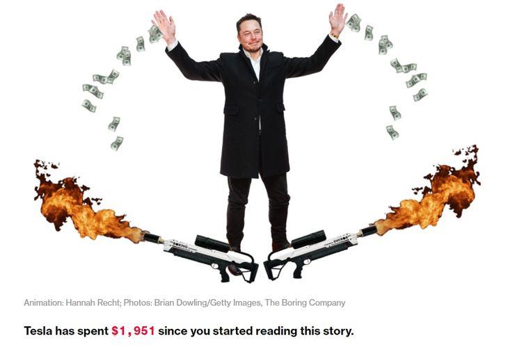 De animatie van Bloomberg. De vlammenwerper werd onlangs met succes  door Tesla-baas Elon Musk in de markt gezet, Binnen een paar uur was de gelimiteerde oplage van 20.000  exemplaren uitverkocht. De opbrengst gaat naar de Boring Company van Musk, waarmee hij tunnelboormachines wil verbeteren, die uiteindelijk razendsnel onderaardse gangen moeten kunnen graven, waarin auto's kunnen gaan rijden.  Beeld rv