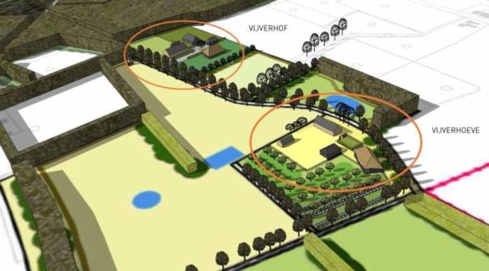 Het gebied waar de landhuizen moeten komen, is nu nog in gebruik als grasland. In de inzet een overzicht van de toekomstige situatie, met rechtsonder de bestaande Vijverhoeve met nieuwe parkeerplaats, links bovenin de nieuw te bouwen landhuizen.