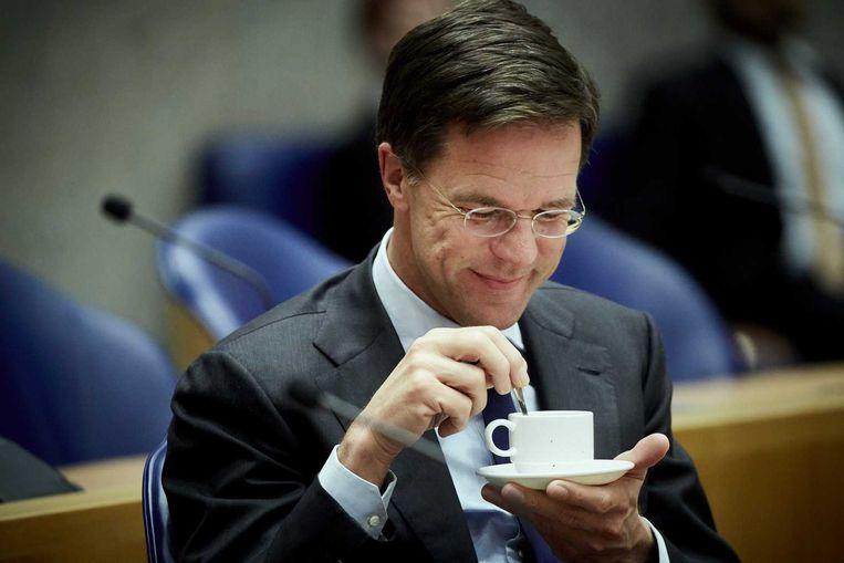 Premier Rutte tijdens het debat over de Europese top. Beeld anp