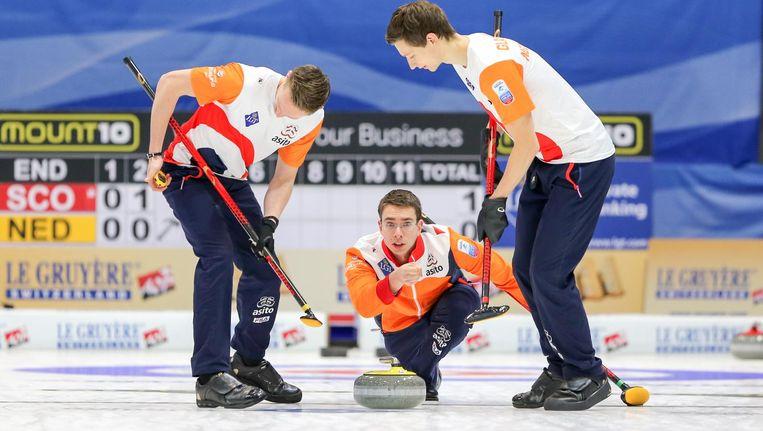 Nederland in actie tegen Schotland op het Europees kampioenschap, afgelopen november. Beeld Richard Gray / WCF