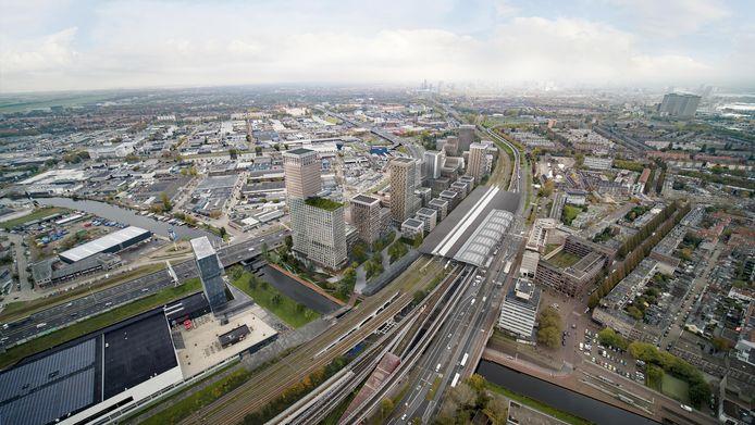Een artist impression van het toekomstige Schieveste, gezien vanuit de lucht. Rechts ligt station Schiedam Centrum.