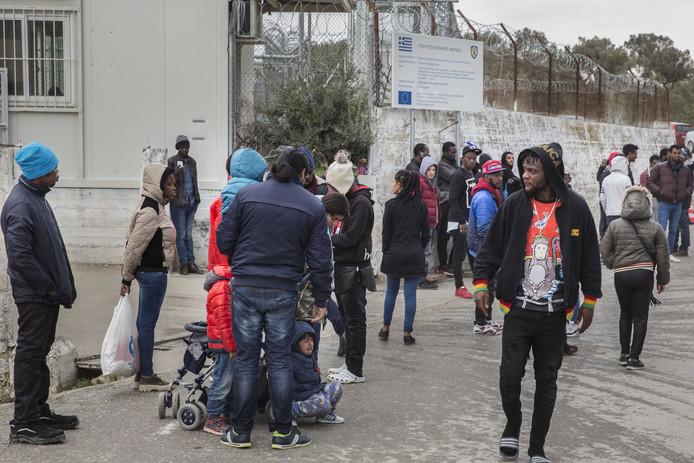Vluchtelingen in het opvangkamp Moria op Lesbos.