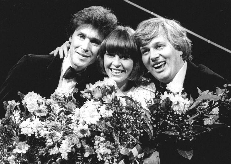 Bart van der Laar (L) met Linda Williams en Cees de Wit tijdens het Nationaal Songfestival. Beeld ANP