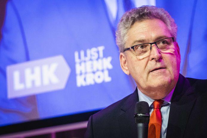 Henk Krol tijdens de presentatie van zijn nieuwe politieke partij Lijst Henk Krol (LHK).