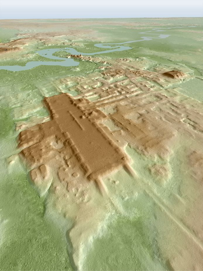 A three-dimensional image of the ancient Maya Aguada Fenix site in Mexico's Tabasco state based on lidar, an aerial remote-sensing method, is seen in this picture released on June 3, 2020. Takeshi Inomata/Handout via REUTERS ATTENTION EDITORS - NO RESALES. NO ARCHIVES. THIS IMAGE HAS BEEN SUPPLIED BY A THIRD PARTY.