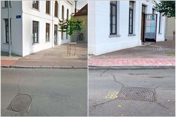 Muizen-Dorp ter hoogte van voormalig café Apollon voor en na de ingreep van het fiets- en voetpadenteam