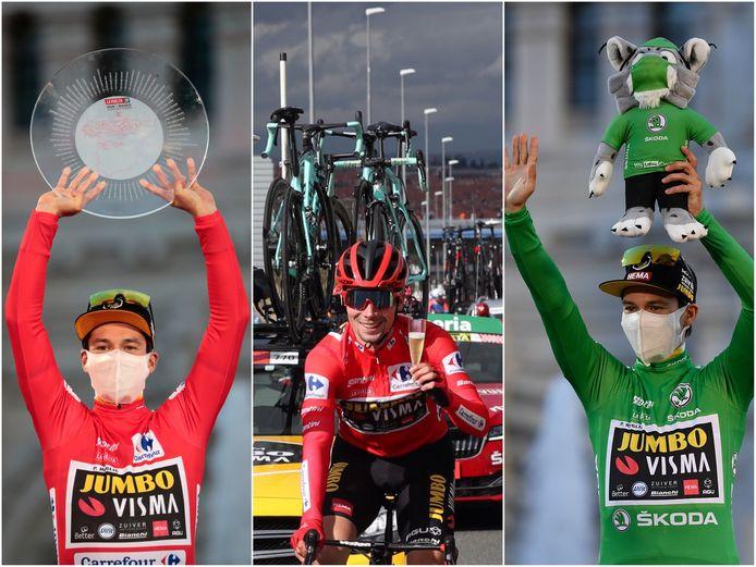 Roglic winst naast de rode trui van het algemeen klassement ook de groene trui van het puntenklassement.