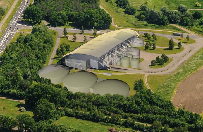 Zo zou de toekomstige mestfabriek op Elhorst Vloedbelt er volgens Twence uit gaan zien.