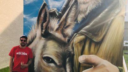 Graffiti-artiest David Duits schenkt portret van Nesten aan alle inwoners van Kuurne