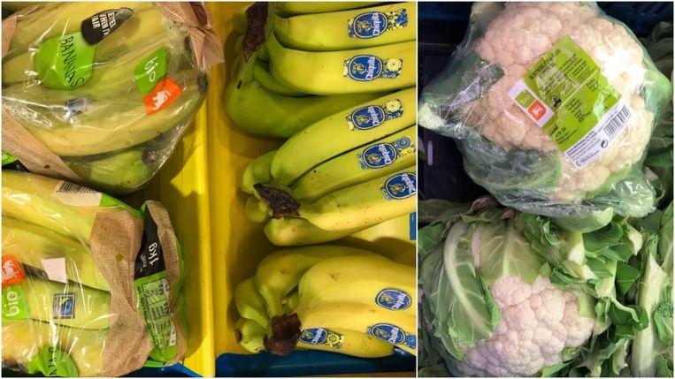 Jill Peeters tweette deze foto's van bananen en bloemkolen.