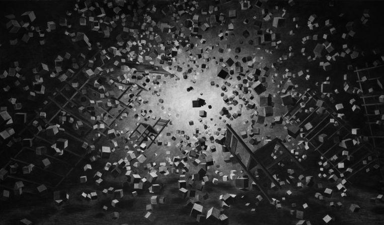 Levi van Veluw: Implosion, 2013 (houtskooltekening). Beeld -