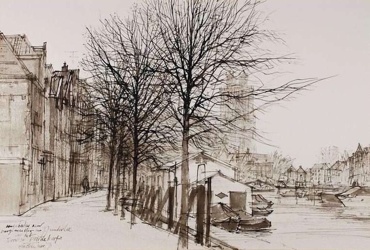 'Gezicht op Nieuwe Haven en Grote kerk Dordrecht', 1973 Beeld Collectie Erven Dicke
